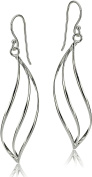 Signature Sterling Silver Linear Wave Earrings One Size Silver tone