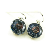 Orgone Energy Small Circle Dangle Earrings-Lapis Lazuli in Antiqued Silver Finish