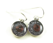 Orgone Energy Small Circle Dangle Earrings-Amethyst in Antiqued Silver Finish