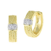 Gold Tone Rope Textured Huggy Earrings with Pave CZ