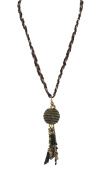 Zad Jewellery Braided Thread & Ball Chain Tassel Long Necklace, Purple Multi