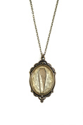 """Antique Coffin 30x40mm Brass Filigree Necklace on 18"""" Chain"""