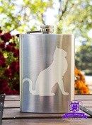 Kitty Cat Etched 240ml Stainless Steel Flask