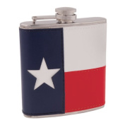 Leather Lone Star State Texas Flag Flask