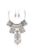 B Jewellery Collection Pave Filigree Statement Necklace & Earrings Set, Antique Silvertone