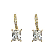 B Jewellery Collection Cushion Crystal Drop Earrings, Golden