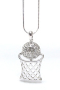 Lola Bella Gifts Crystal Basketball Pendant Necklace with Gift Box