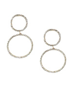B Jewellery Collection Pave Double Circle Ear Jackets Earrings, Golden