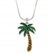 Lola Bella Gifts Crystal Palm Tree Tropical Pendant Necklace with Gift Box