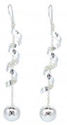 10mm Ball Drop in Rolling Sterling Silver French Wire Earrings for Women's [ISE0111]