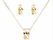 Banju 18K Gold-Plated Geometric yellow and Black Enamel Necklace Circular Pendant Necklace + Earrings