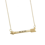 Inspirational Quote Be Brave Arrow Necklace Horizontal Brass Motivational Sayings Gift Pendant Jewellery BN546-G