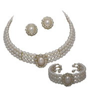 Entire Look Cream Pearl Bridal Necklace Set, Earring, Bracelet Heirloom Style Gold Tone CG2