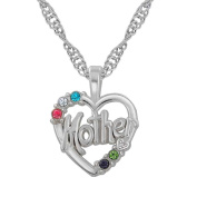 Open Heart Multicolor Crystal Mother Love Pendant Necklace