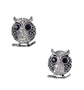 Amrita Singh Pave Owl Stud Earrings, Antique Silvertone