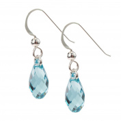 Sterling Silver and Crystal Turquoise Raindrop Earrings