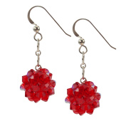 Sterling Silver and Crystal Woven Earrings in Fiery Red