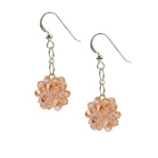 Sterling Silver and Crystal Woven Earrings in Warm Peach