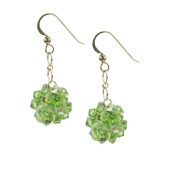 Sterling Silver and Crystal Woven Earrings in Peridot