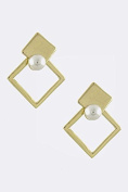PEARL ACCENT SQUARE DESIGN EARRINGS