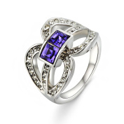 "Elements Violet ""Brunetta"" Ring Rhodium Plated"