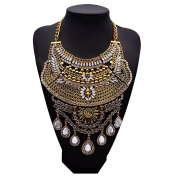 Easting Multi Rhinestone Vintage Jewellery Pendant Knit Chain Choker Wide Chunky Necklace