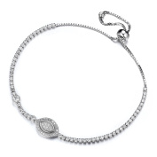 GTB1740 S925 Silver CZ Stones Marquise Sizeable Tennis Link Bracelet Rhodium Plated