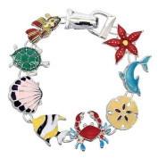 Colourful Sea Life Link Bracelet Silver Plated Beach Wedding Jewellery