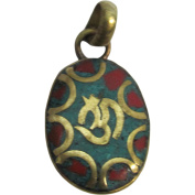 Yoga Meditation Hindu Om Turquoise & Coral Inlay Jewellery Gold-Tone Brass Oval Small Necklace Pendant w/ Gift Pouch