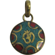 Yoga Meditation Hindu Om Turquoise & Coral Inlay Jewellery Gold-Tone Brass Round Small Necklace Pendant w/ Gift Pouch