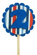 All About Details Blue with Stripes 2 Cupcake Toppers, Set of 12