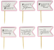 All About Details Bubblegum Pink 40th Birthday Quotes Cupcake Toppers, Set of 12