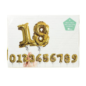 Talking Tables Party Time Gold Foil Number Ballon Cake Toppers (12 Pack), Mini, Multicolor