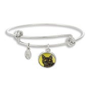The Adjustable Band Bangle Bracelet featuring the Cat with Green Background