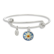 The Adjustable Band Bangle Bracelet featuring the Blue Daisy