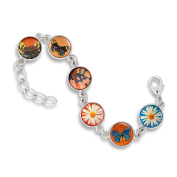 The Classic 13MM 6-Link Bracelet featuring Fresh Flowers, Vintage Butterflies and Butterfly Wings