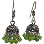 Indian Traditional Chandelier Vintage Belly Dance Gypsy White Metal Dangle Fashion Round Earrings