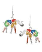 Antique Silver Tone Metal / Filigree / Elephant Dangle / Animal / Fish Hook Earring Set / AZERFH181-ASL