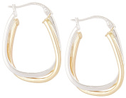 Signature Sterling Silver Oval Click Hoop Earrings One Size Silver tone/gold tone
