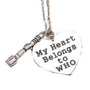 """Valentines Day, Silver Tone """" My Heart Belongs to Dr Who"""" and Sonic Screwdriver Necklace"""