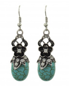 .  Fashion Chandelier Dangle Antique Silver Turquoise Stone Earring / AZERVT831-ATU