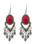 .  Fashion Chandelier Dangle Antique Silver Coral Stone Earring / AZERVR857-ARD