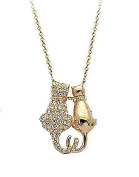 Gold Tone, Crystal Cat Couple w/ Heart Tails Necklace