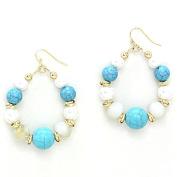 Mixed Howlite Pearl Bead Hoop Earrings / AZERFH266-GTU