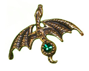 Bronze Glider Dragon Pin with Green Cristal