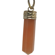 Lucky Red Aventurine Healing Powerful Attracting Energy Pointed Pencil Hexagonal Pendant /w Gift Pouch