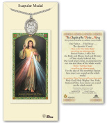 Pewter Scapular medal on an 60cm Heavy Curb Chain with a The Chaplet of the Divine Mercy Prayer Card.
