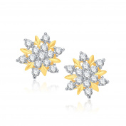 V. K. Jewels Bollywood Fashion Women's Sweet Flower Gold And Rhodium Plated Earring [Jewellery]