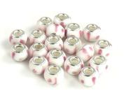 Athena Jewellery Pink White Murano Glass Beads 10 Fits