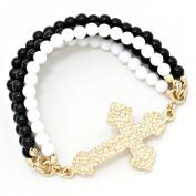 Cross Rainbow Bead Stretch Bracelet / AZBRST041-GBK